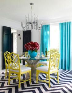 Graphic Dining Room With a Pop of Green